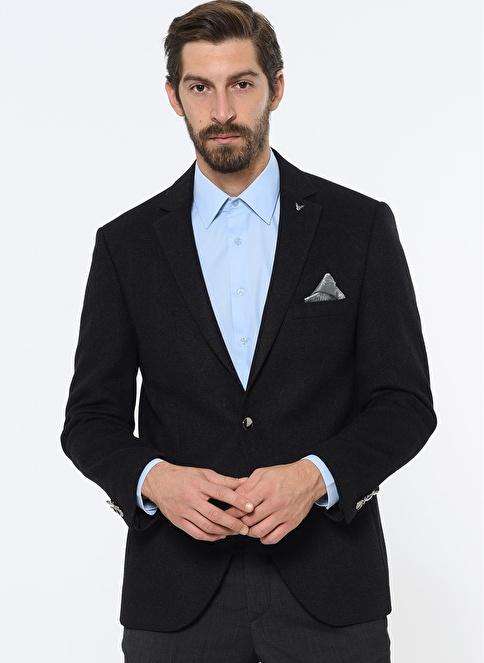 Comienzo Slim Fit Yün Blazer Ceket Siyah